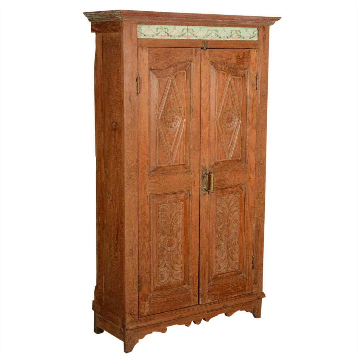 Old wooden armoires our generation wooden wardrobe with for Big w bedroom storage