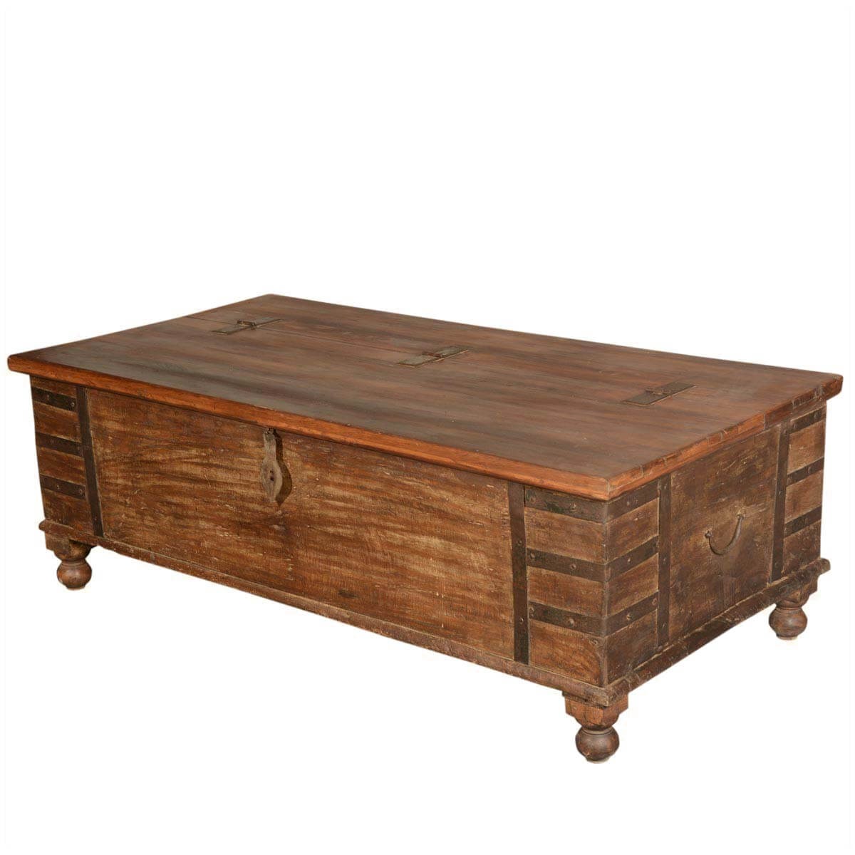 Rustic reclaimed wood standing coffee table chest for Reclaimed coffee table