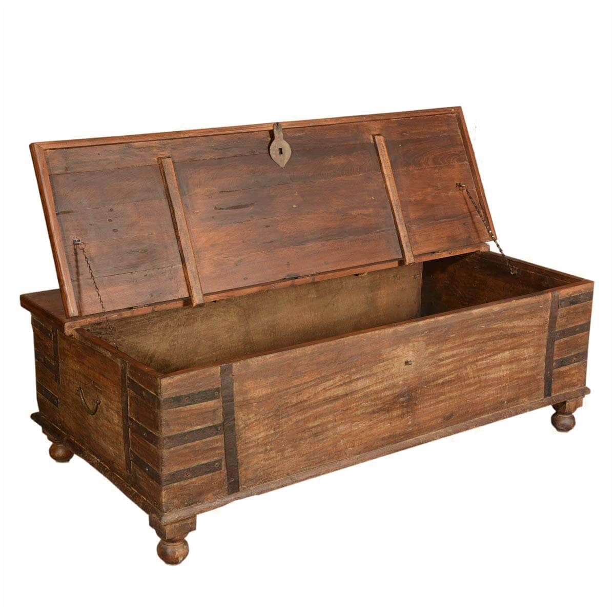 Artisan Collection Rustic Reclaimed Wood Standing Coffee Table Chest