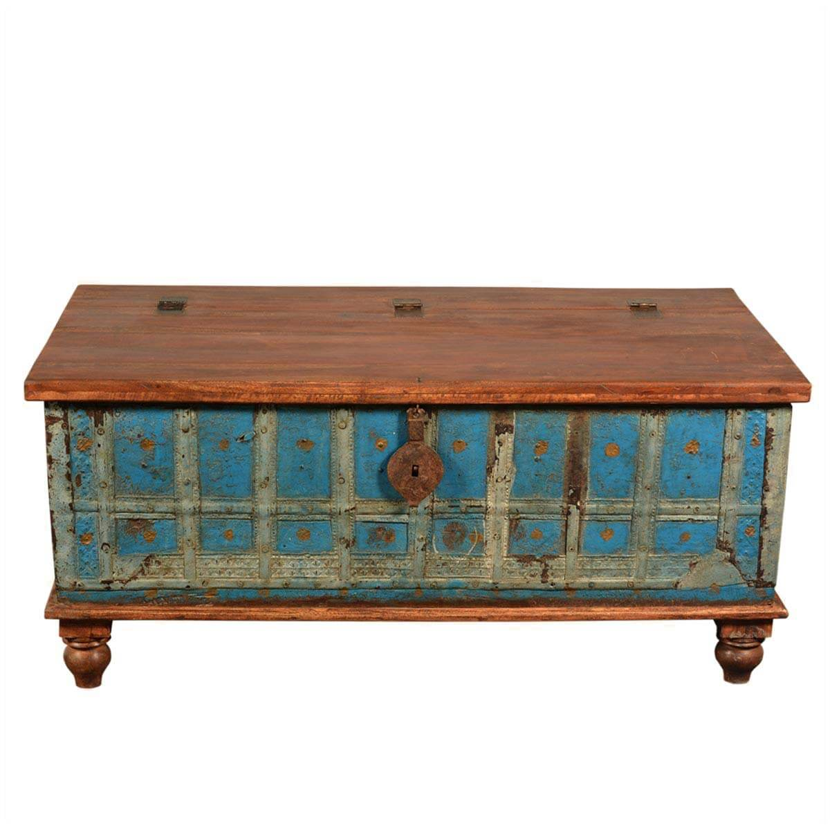 Sky Blue Brown Rustic Reclaimed Wood Standing Coffee Table Trunk