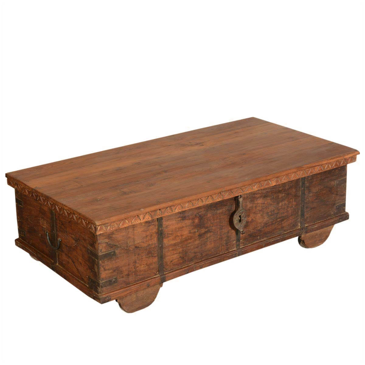 Langley reclaimed wood rustic metal accent storage trunk coffee table Recycled wood coffee table