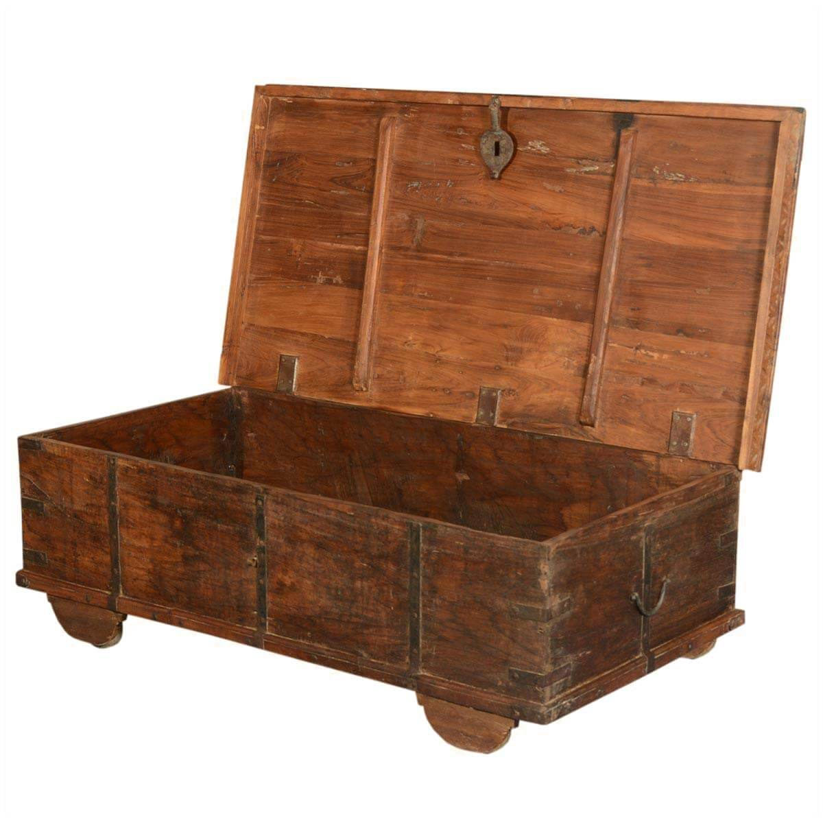 Langley Reclaimed Wood Rustic Metal Accent Storage Trunk Coffee Table
