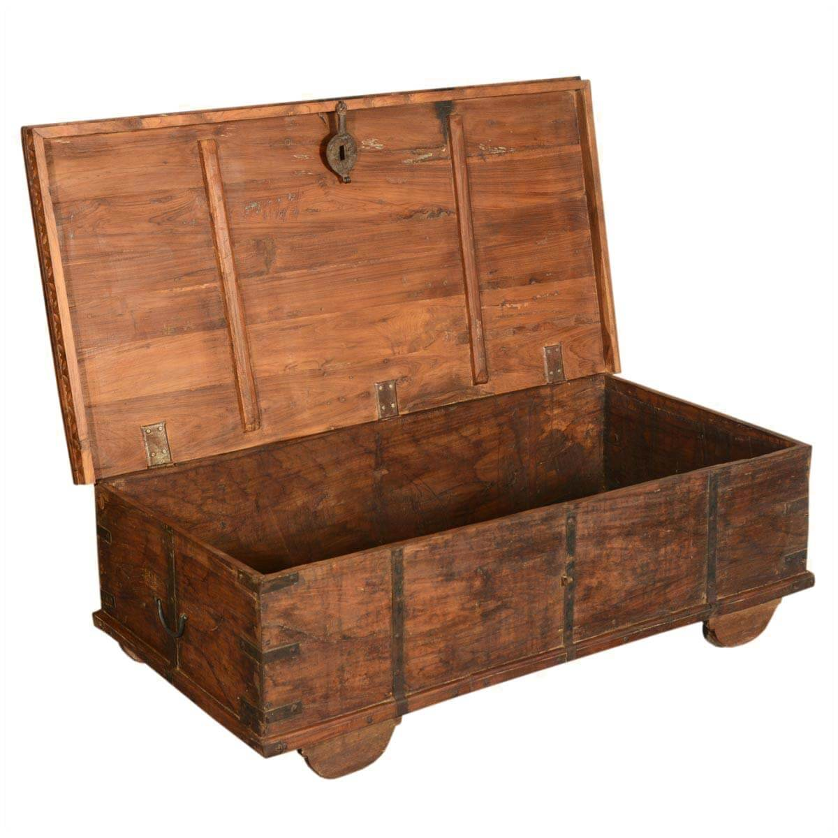 Langley reclaimed wood rustic metal accent storage trunk coffee table Metal chest coffee table