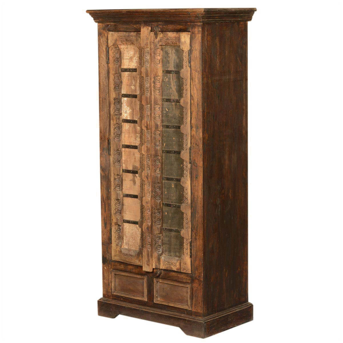Palace Rustic Reclaimed Wood Vintage Bedroom Armoire Storage Cabinet. Full resolution  img, nominally Width 1200 Height 1200 pixels, img with #B07A1B.