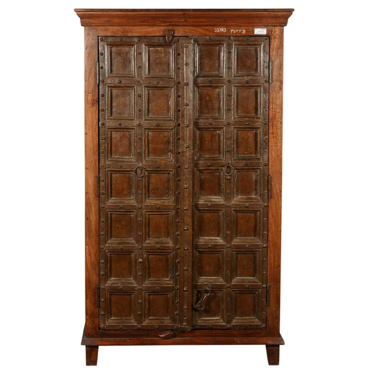 Collection Nottingham Rustic Reclaimed Wood Old Door Armoire Cabinet. Full resolution  portrait, nominally Width 1200 Height 1200 pixels, portrait with #BE870D.