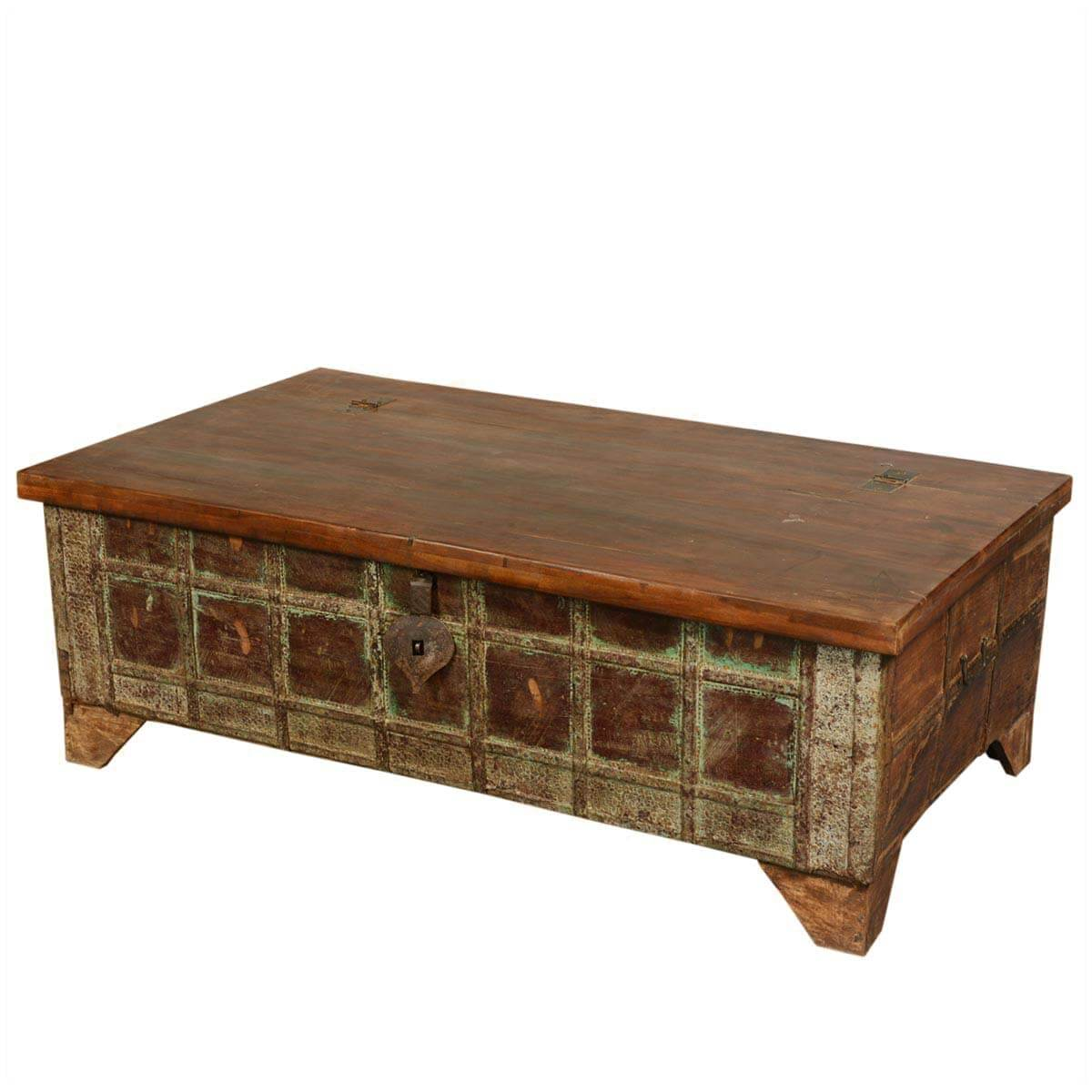 Gothic Treasure Reclaimed Wood Standing Coffee Table Chest