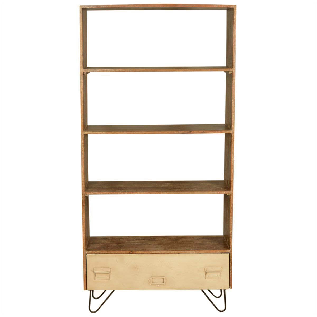 Industrial Mango Wood Iron Open Back Bookcase W File Drawer
