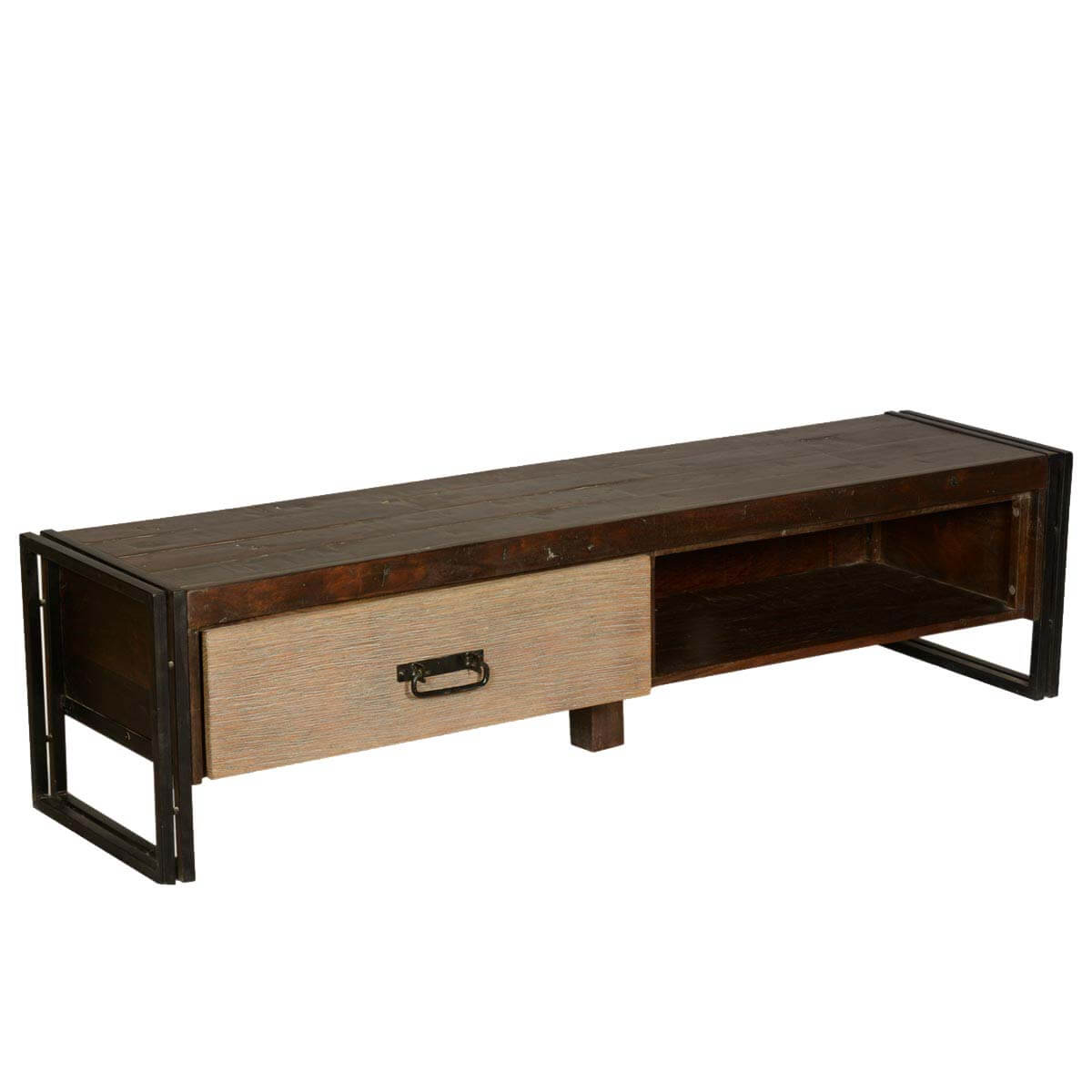 Industrial Mango Wood Iron Tv Stand Entertainment