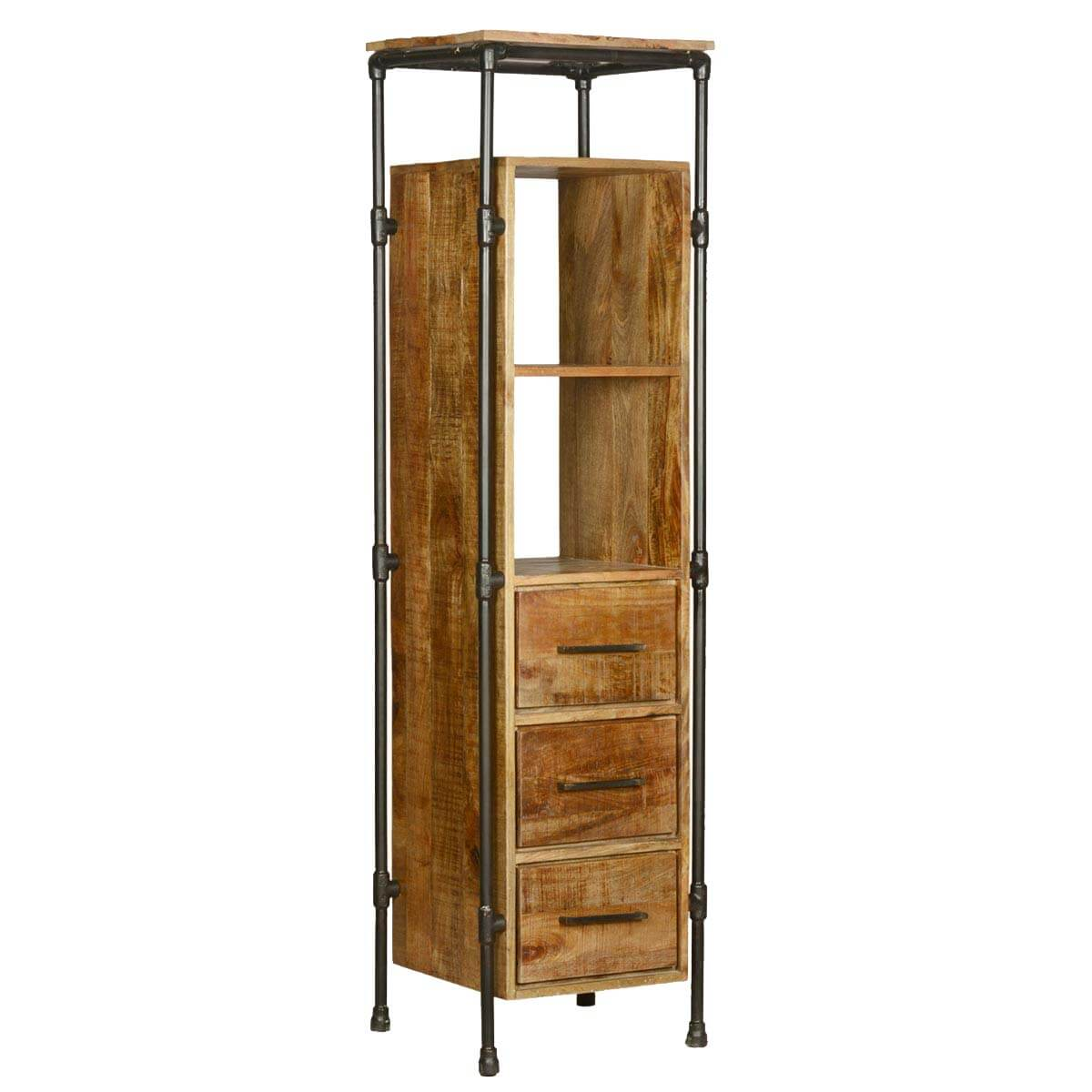 #734618 Industrial Mango Wood & Iron 3 Drawer Dresser W Open Back Shelves with 1200x1200 px of Best Open Back Bookcases 12001200 image @ avoidforclosure.info