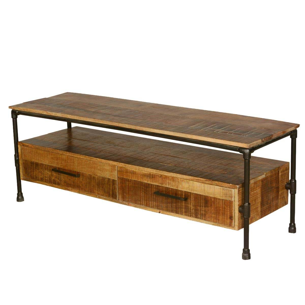 Holt Industrial Iron Pipe Mango Wood 2 Drawer Tv Media Stand