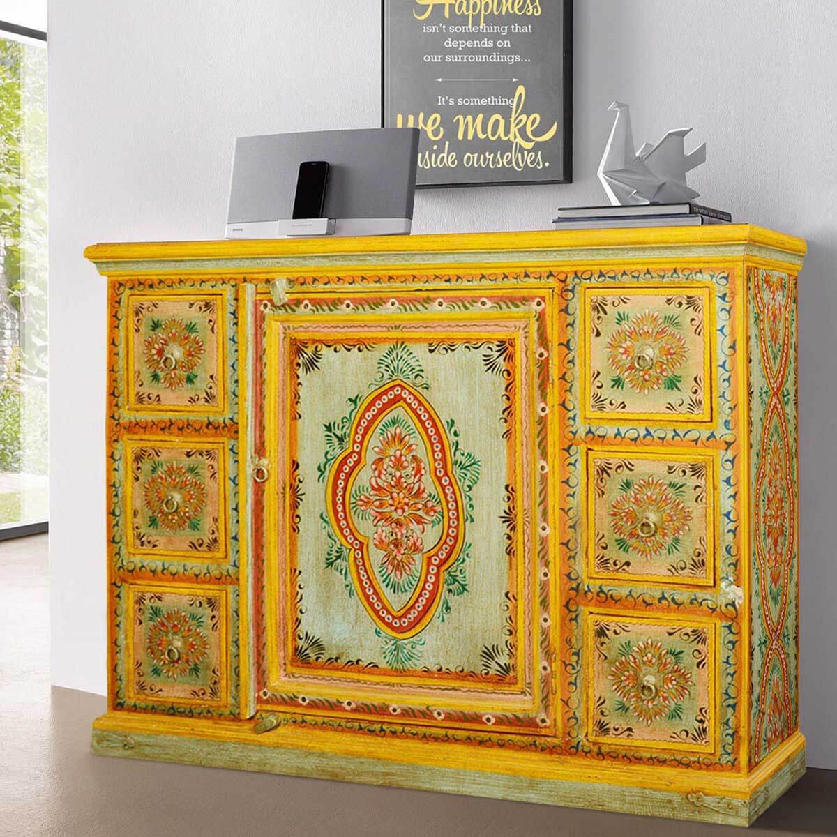 Sun garden hand painted mango wood drawer sideboard cabinet