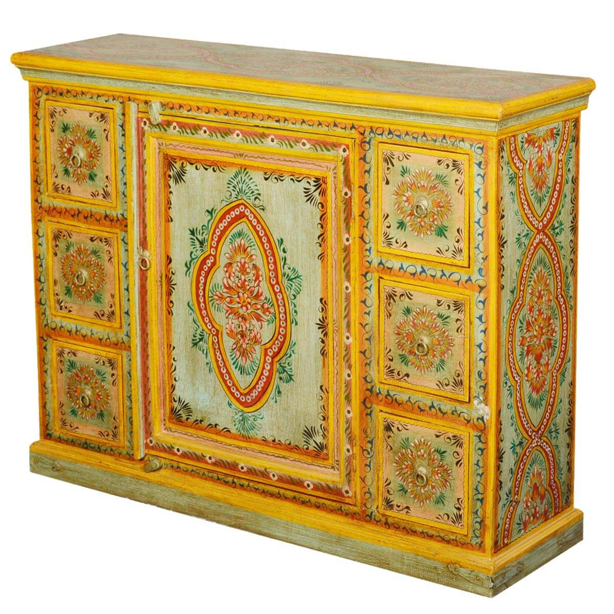 Painted Wooden Sideboard ~ Sun garden hand painted mango wood drawer sideboard cabinet