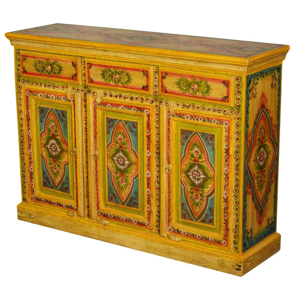 Sun garden hand painted mango wood quot sideboard buffet