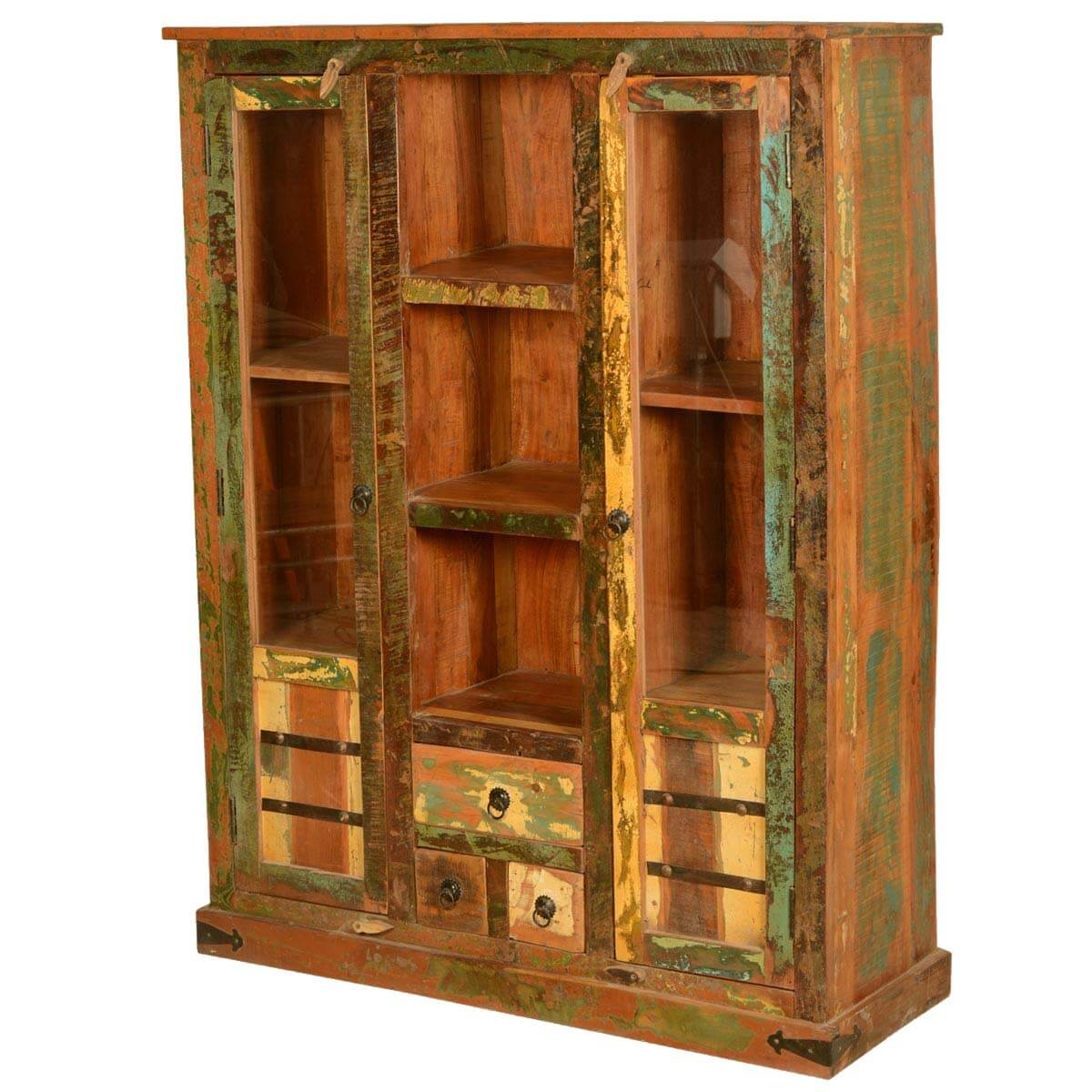 Speckled Rustic Reclaimed Wood Display Cabinet W Glass Doors