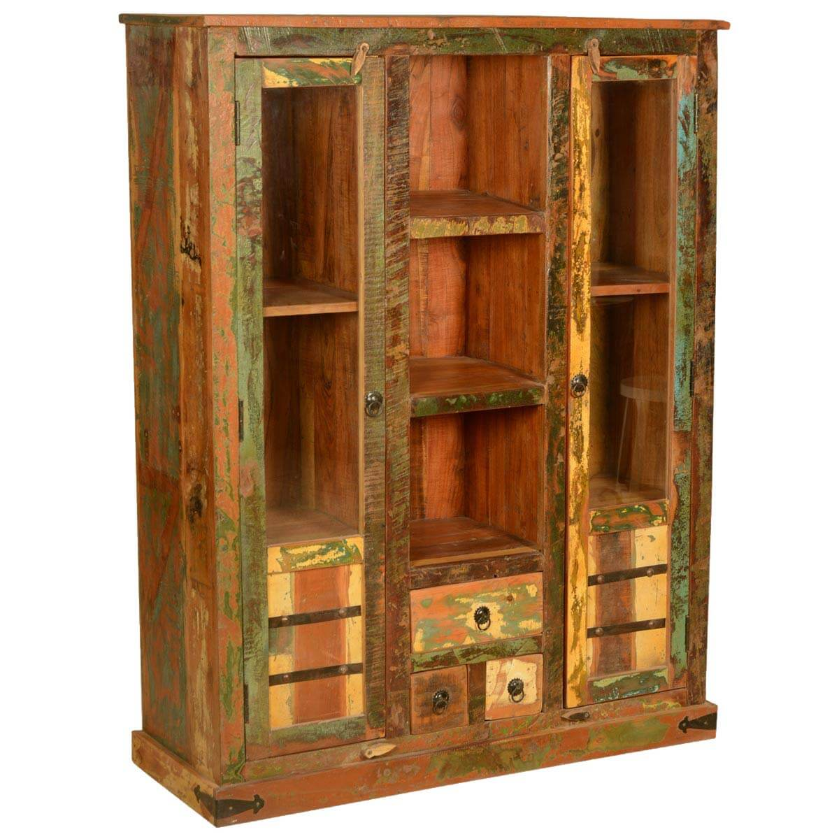 1200 #BF790C  Speckled Rustic Reclaimed Wood Display Cabinet W Glass Doors picture/photo Wood Glass Doors 41591200