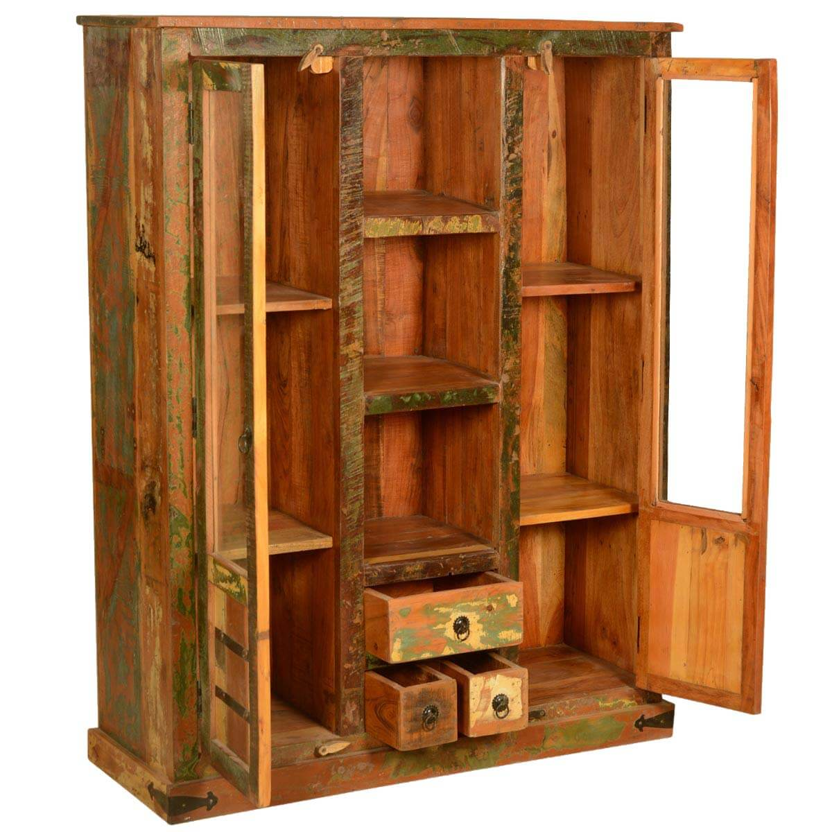1200 #C77604  Speckled Rustic Reclaimed Wood Display Cabinet W Glass Doors picture/photo Wood Glass Doors 41591200