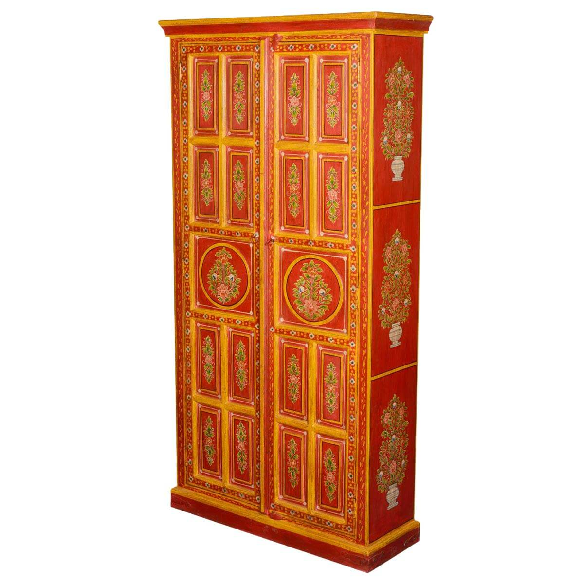 Fire Garden Hand Painted Mango Wood Armoire Cabinet. Full resolution  pic, nominally Width 1200 Height 1200 pixels, pic with #952809.