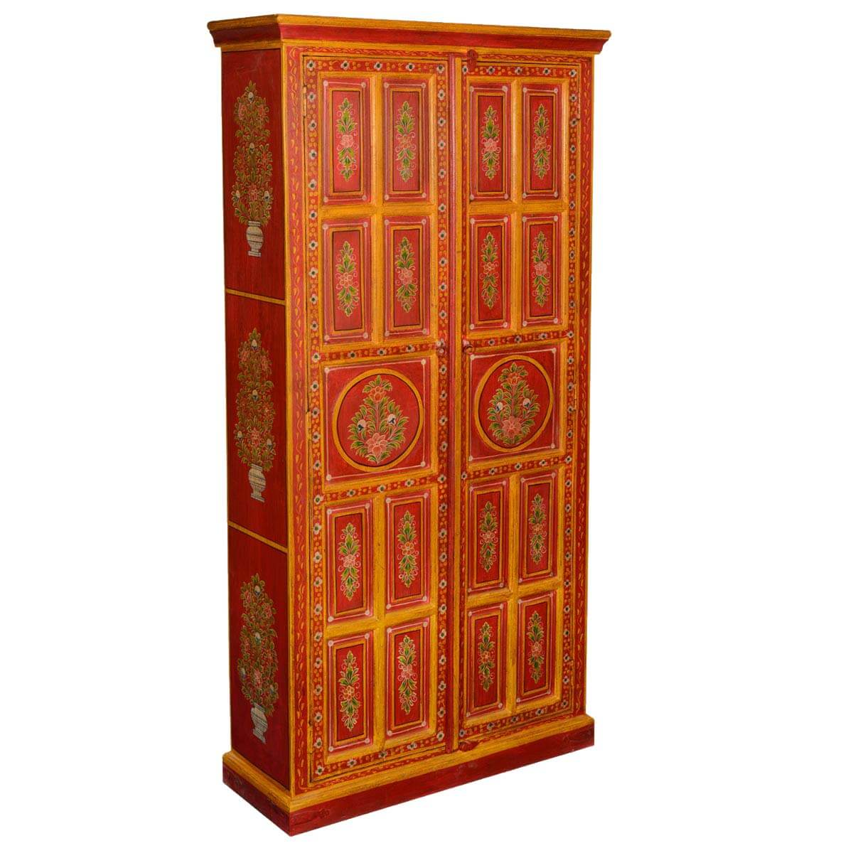 Fire Garden Hand Painted Mango Wood Armoire Cabinet. Full resolution  pic, nominally Width 1200 Height 1200 pixels, pic with #8C280C.