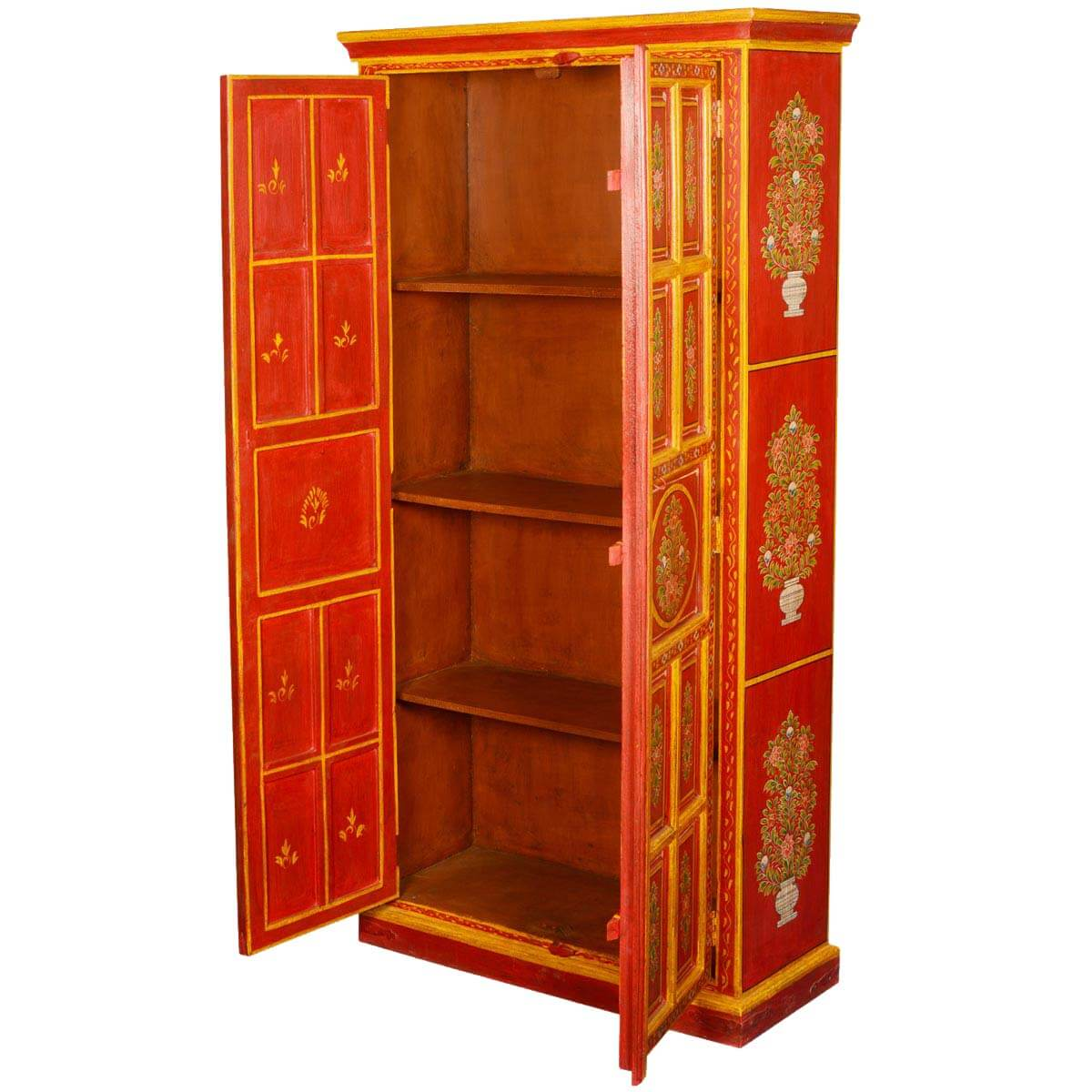 Artisan Collection Fire Garden Hand Painted Mango Wood Armoire Cabinet. Full resolution  pic, nominally Width 1200 Height 1200 pixels, pic with #4C1200.