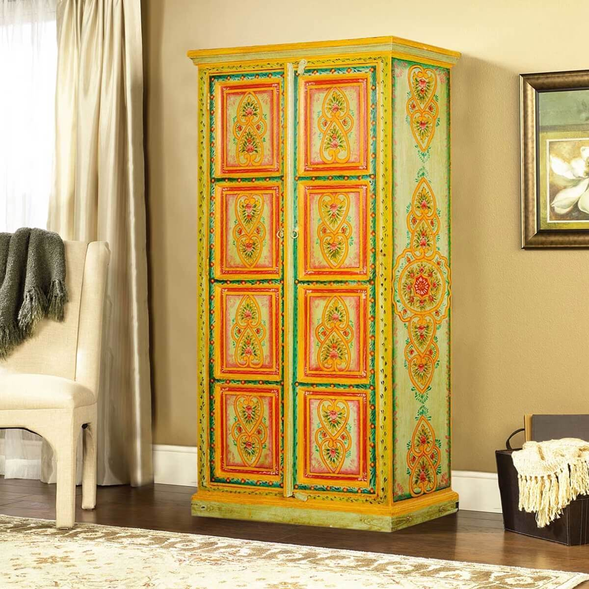 Hearts & Flowers Hand Painted Mango Wood 2 Door Armoire Cabinet. Full resolution  pic, nominally Width 1200 Height 1200 pixels, pic with #BD740E.