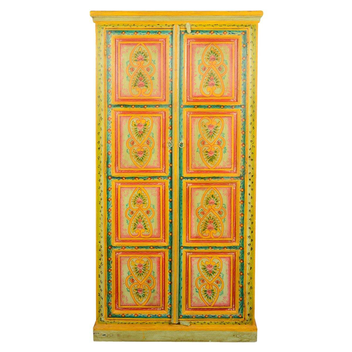 Hearts & Flowers Hand Painted Mango Wood 2 Door Armoire Cabinet. Full resolution  pic, nominally Width 1200 Height 1200 pixels, pic with #B79114.