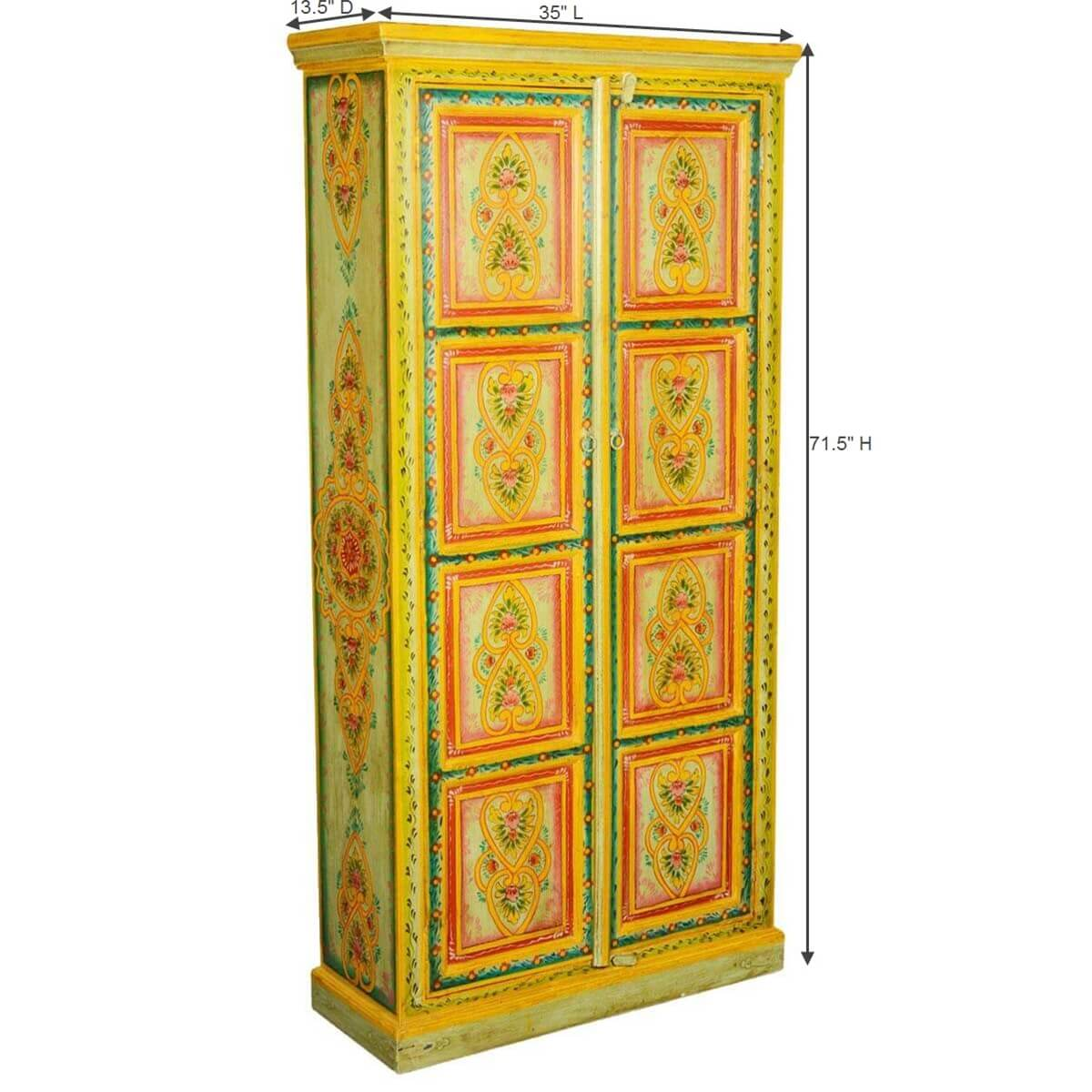 Hearts & Flowers Hand Painted Mango Wood 2 Door Armoire Cabinet. Full resolution  pic, nominally Width 1200 Height 1200 pixels, pic with #2E0900.