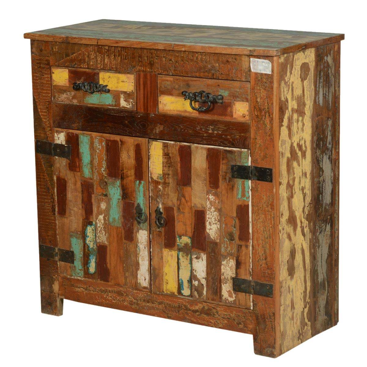 Collection Rustic Painted Patches Reclaimed Wood Buffet Cabinet. Full resolution‎  photograph, nominally Width 1200 Height 1200 pixels, photograph with #B28319.