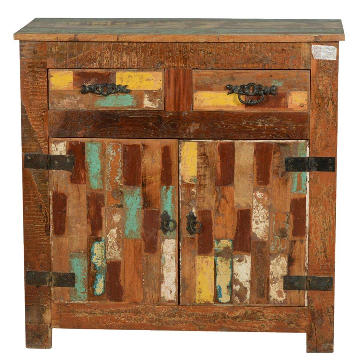 Collection Rustic Painted Patches Reclaimed Wood Buffet Cabinet. Full resolution  portrait, nominally Width 1200 Height 1200 pixels, portrait with #B07A1B.