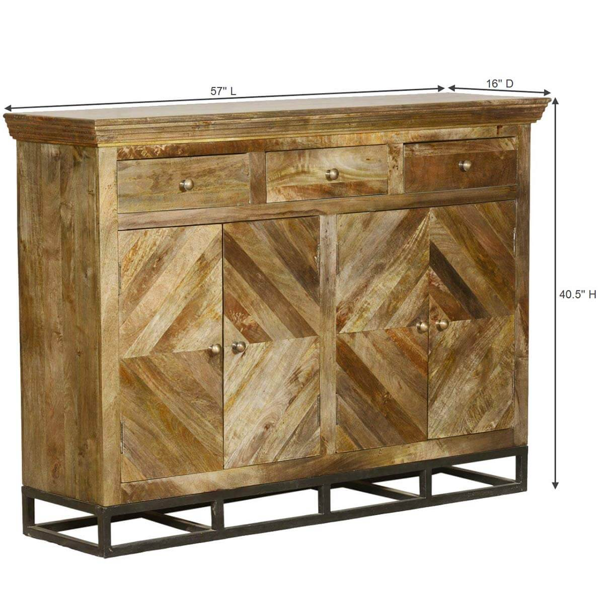 Contemporary Parquet Diamond Mango Wood Sideboard Buffet Cabinet. Full resolution‎  file, nominally Width 1200 Height 1200 pixels, file with #A1812A.