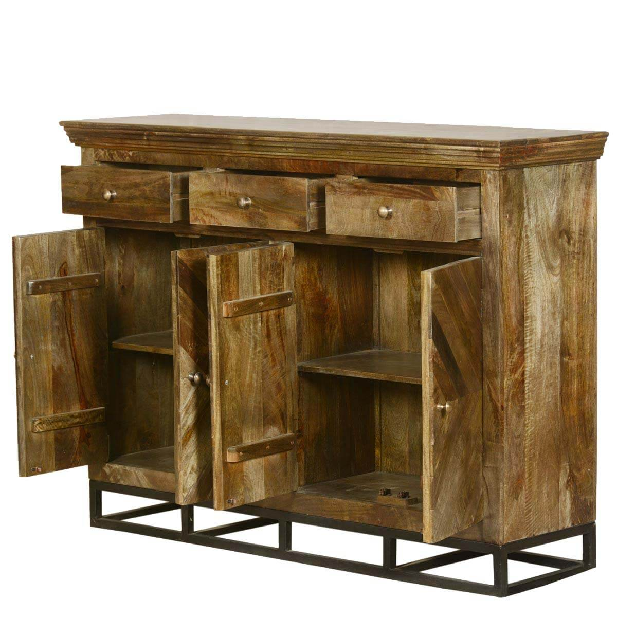 Contemporary Parquet Diamond Mango Wood Sideboard Buffet Cabinet. Full resolution‎  file, nominally Width 1200 Height 1200 pixels, file with #A1762A.