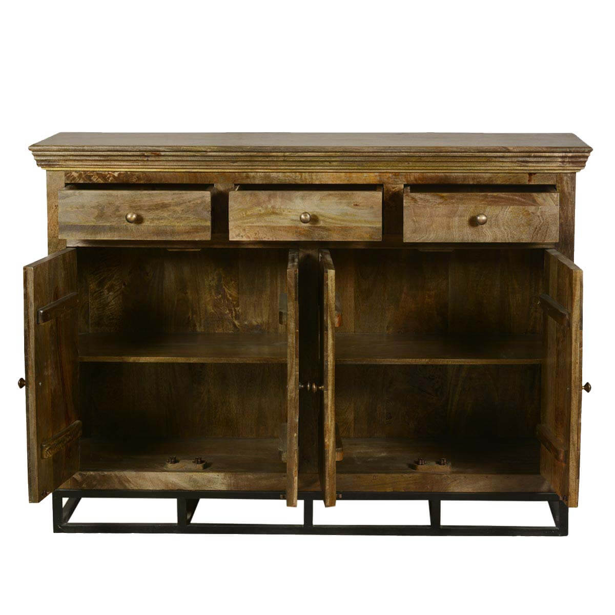 Contemporary Parquet Diamond Mango Wood Sideboard Buffet Cabinet. Full resolution‎  file, nominally Width 1200 Height 1200 pixels, file with #B07A1B.