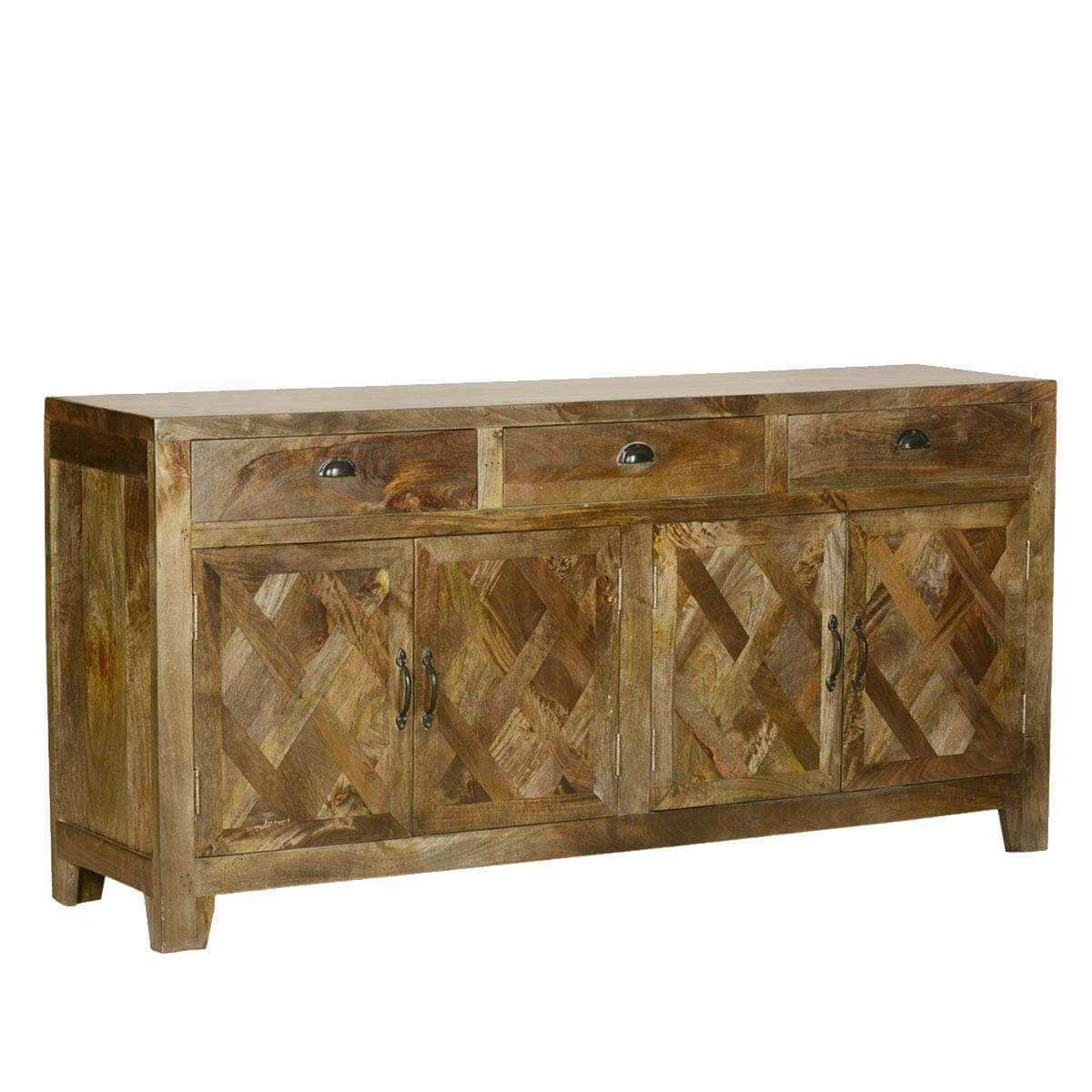 Parquet Farmhouse Mango Wood Rustic Sideboard Buffet Cabinet. Full resolution‎  file, nominally Width 1200 Height 1200 pixels, file with #B07A1B.