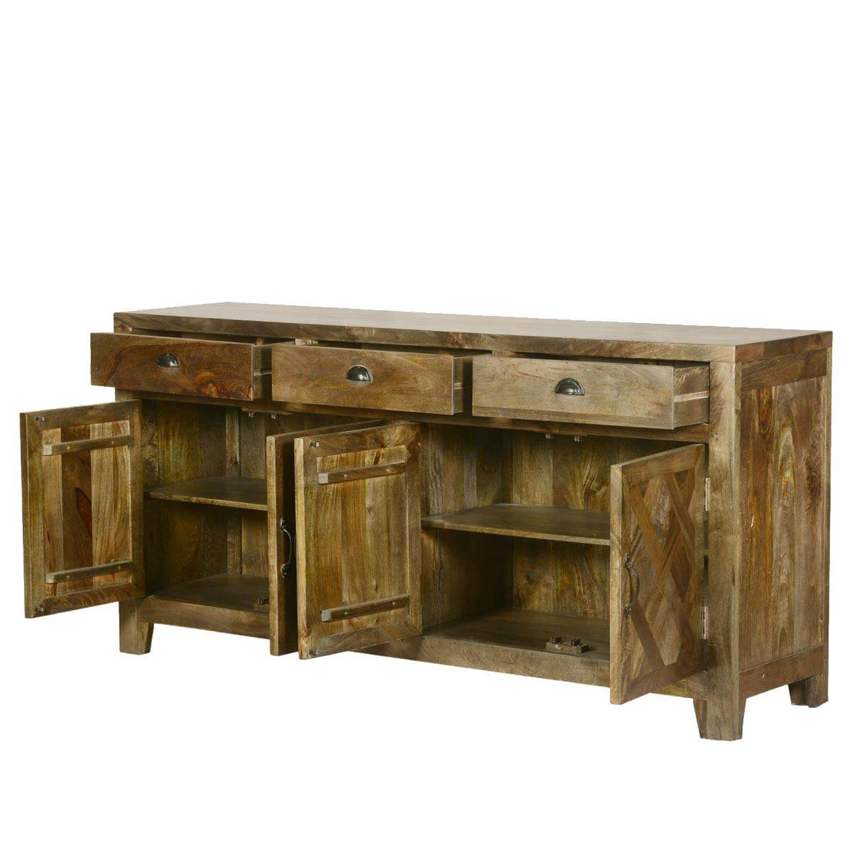 Parquet Farmhouse Mango Wood Rustic Sideboard Buffet Cabinet. Full resolution‎  file, nominally Width 1200 Height 1200 pixels, file with #B27219.