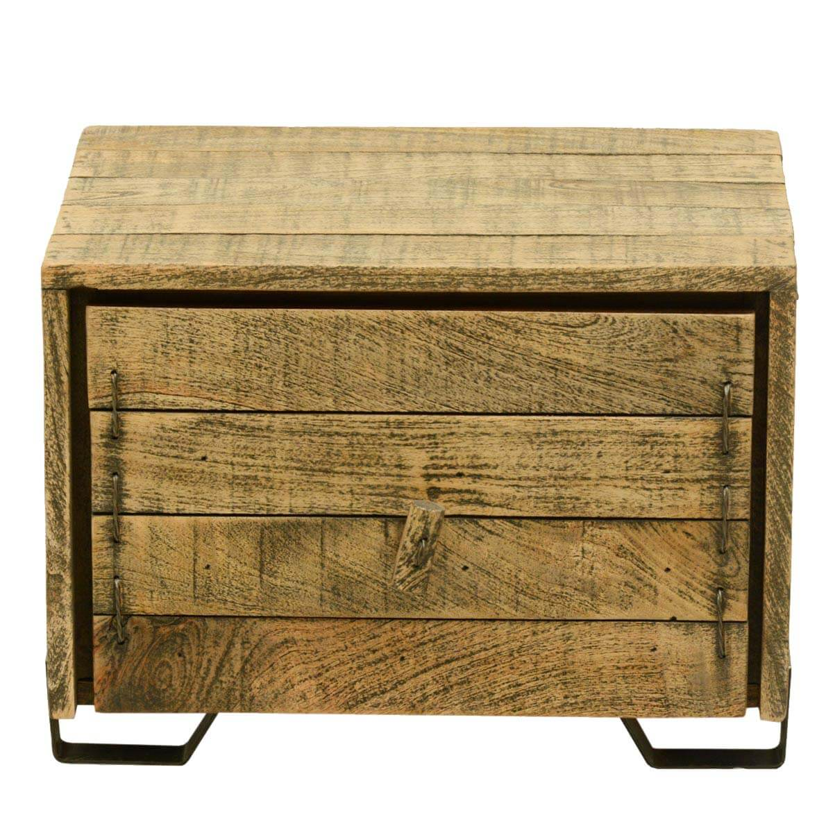 rustic simplicity reclaimed wood end table cube w drawer