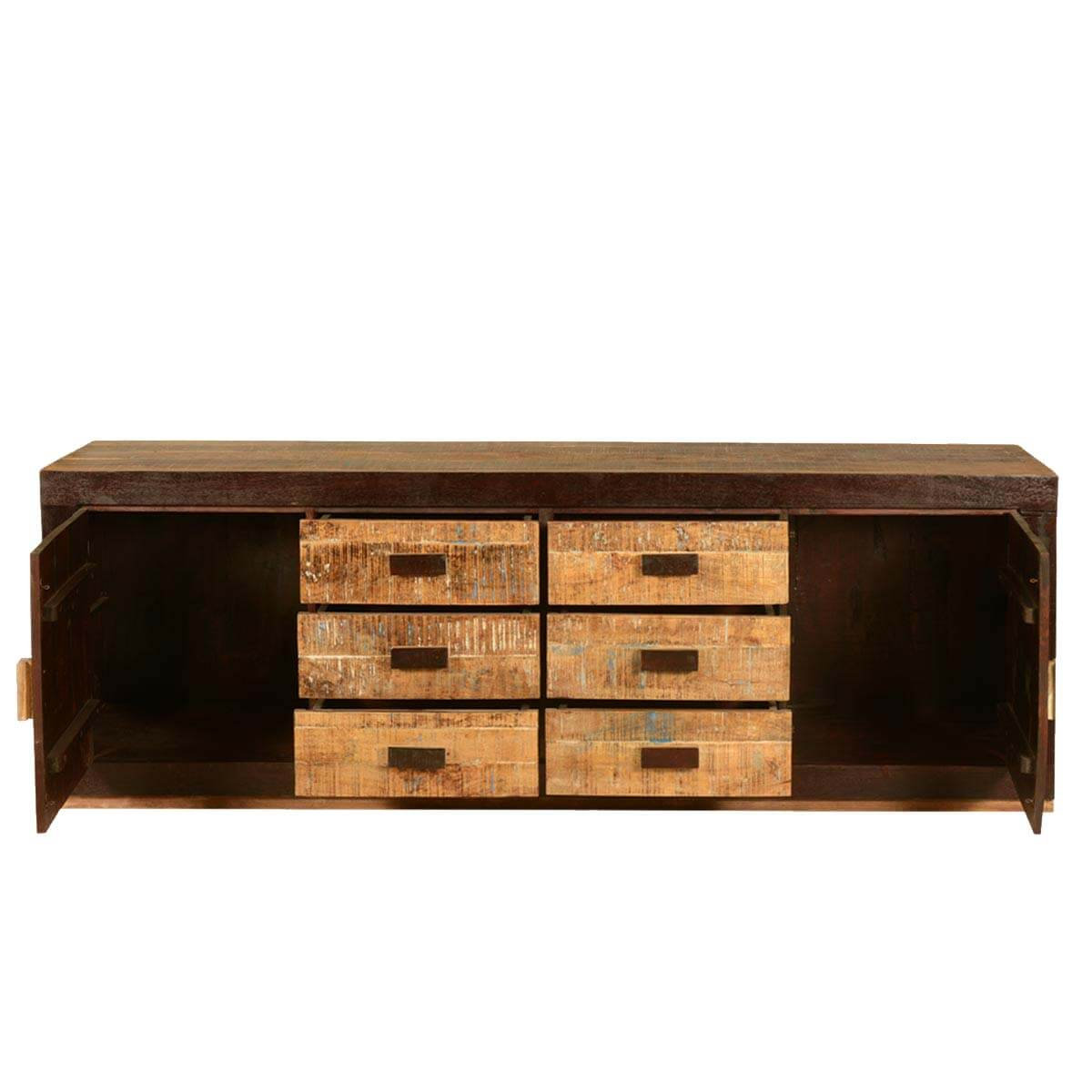 Industrial Style Solid Wood Square Storage Trunk 5 Drawer: Rustic Block Design Mango Wood Chest Of Drawers Buffet