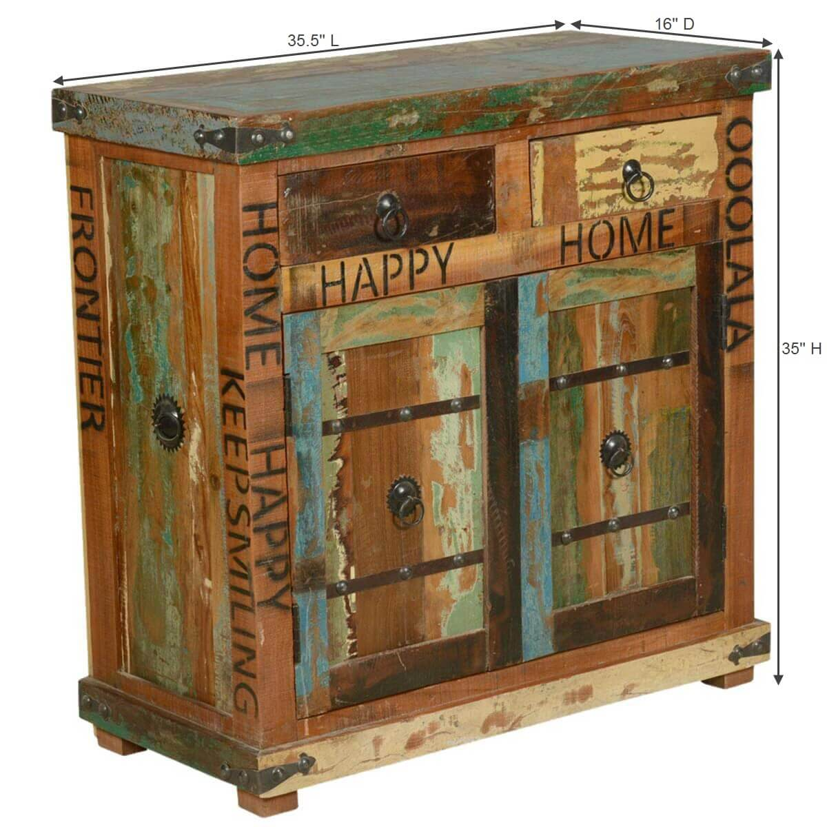 Happy home rustic reclaimed wood 2 drawer storage cabinet for Repurposed wood furniture