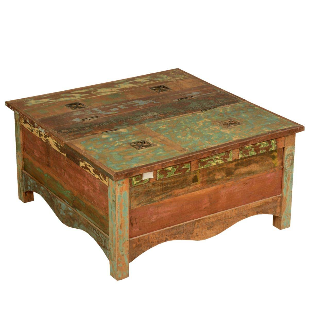 Rustic reclaimed wood 355quot square double top coffee table for Rustic coffee table