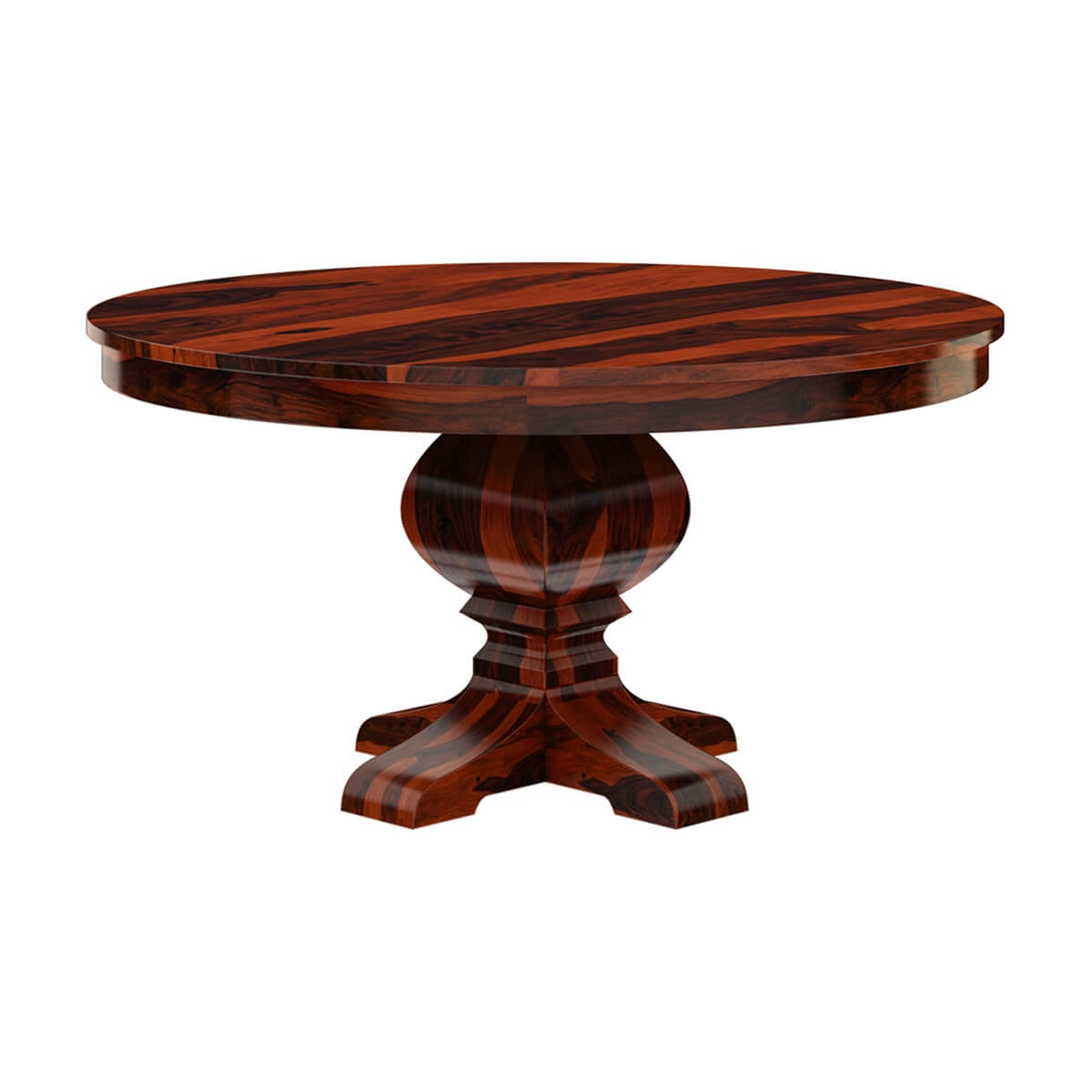Missouri 60 solid wood round pedestal dining table for Solid wood dining table