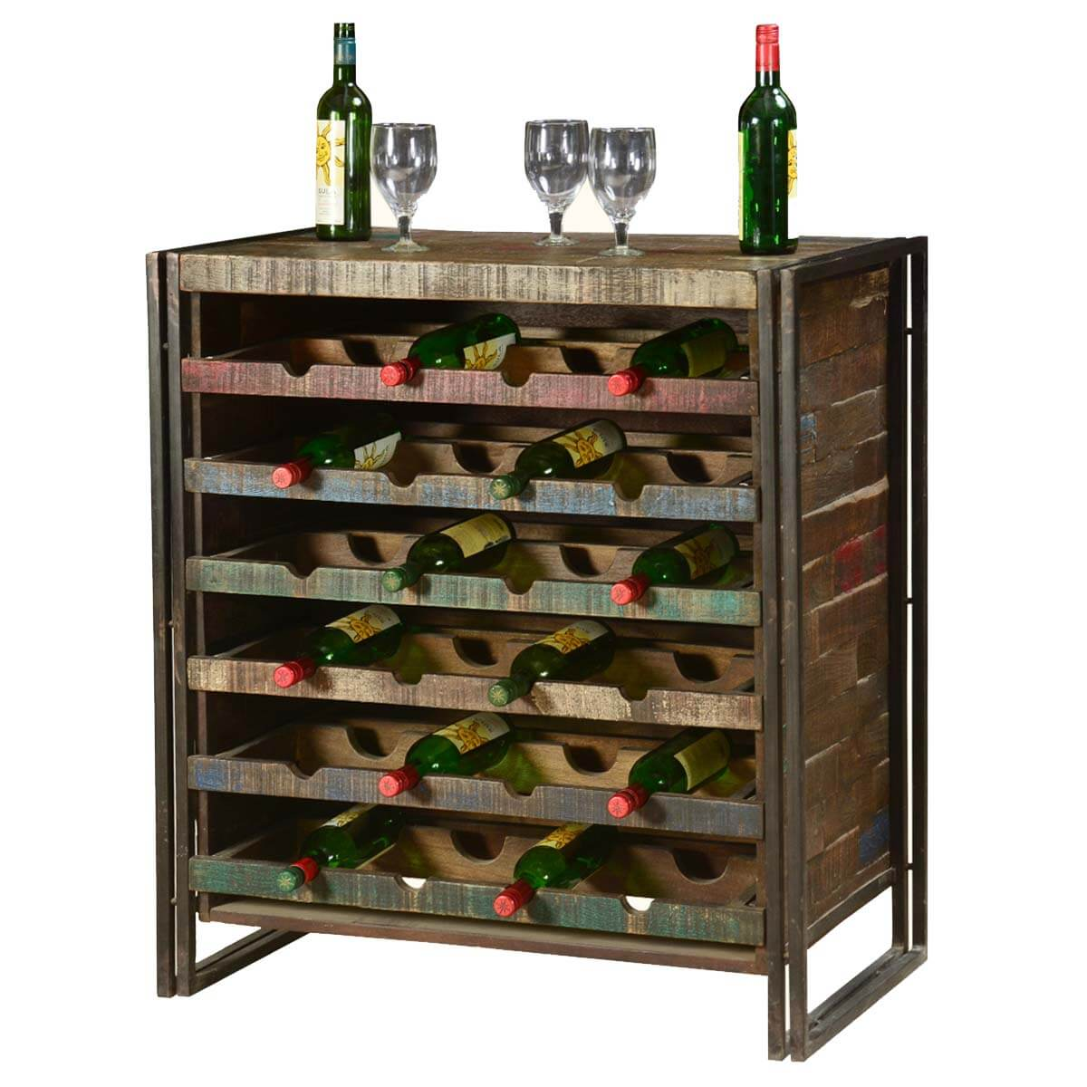 Rustic Industrial Wooden Liquor Wine Storage Rack for 24  : 5769 from www.sierralivingconcepts.com size 1200 x 1200 jpeg 143kB