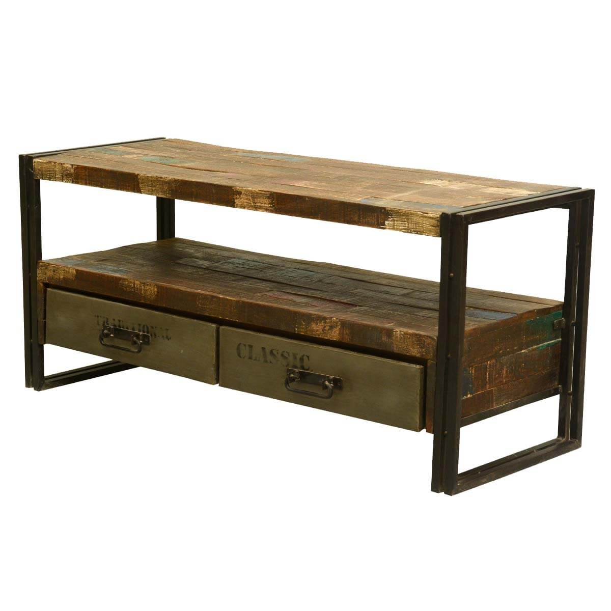 ... Room Rustic Modern Industrial Reclaimed Wood & Iron Media Console