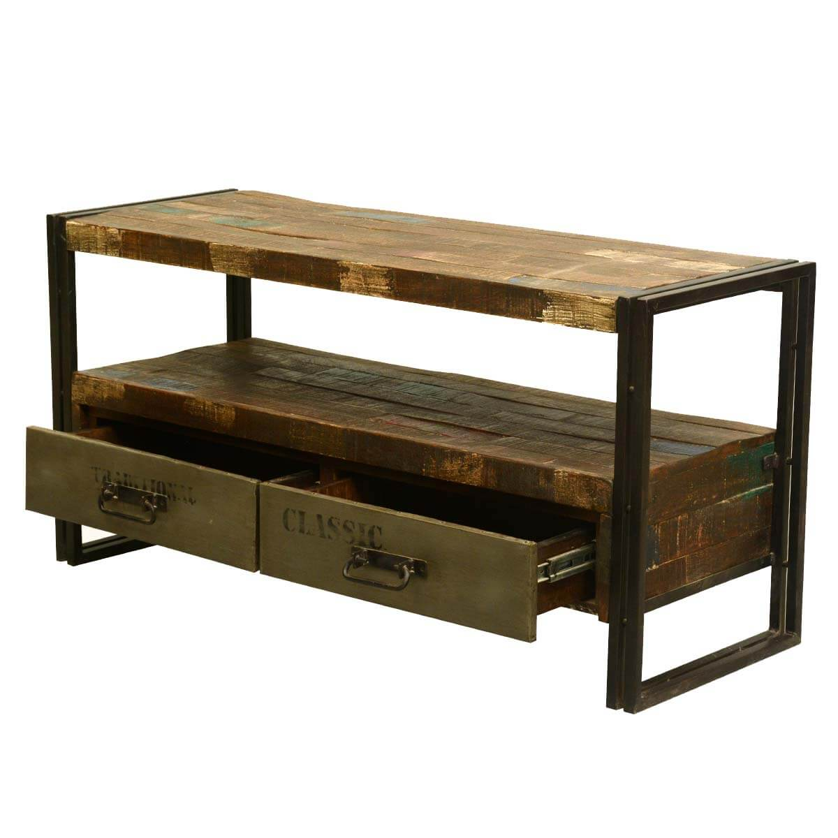 Stylish Rustic Media Console : ... Room Rustic Modern Industrial Reclaimed Wood & Iron Media Console