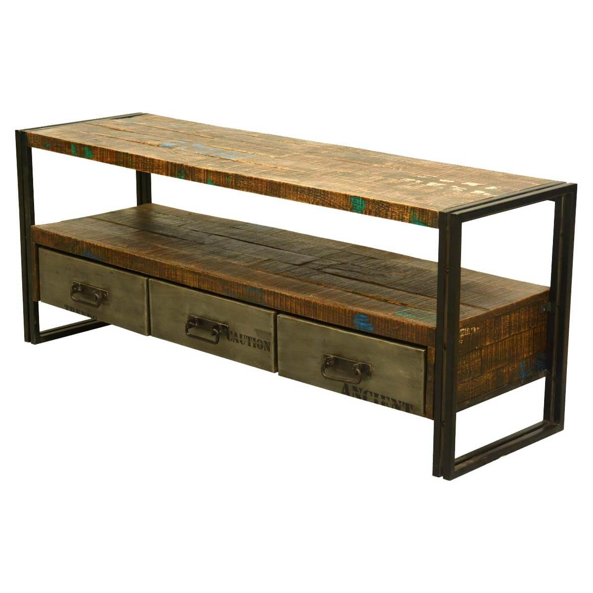 Modern Rustic Reclaimed Wood amp Iron Media Console