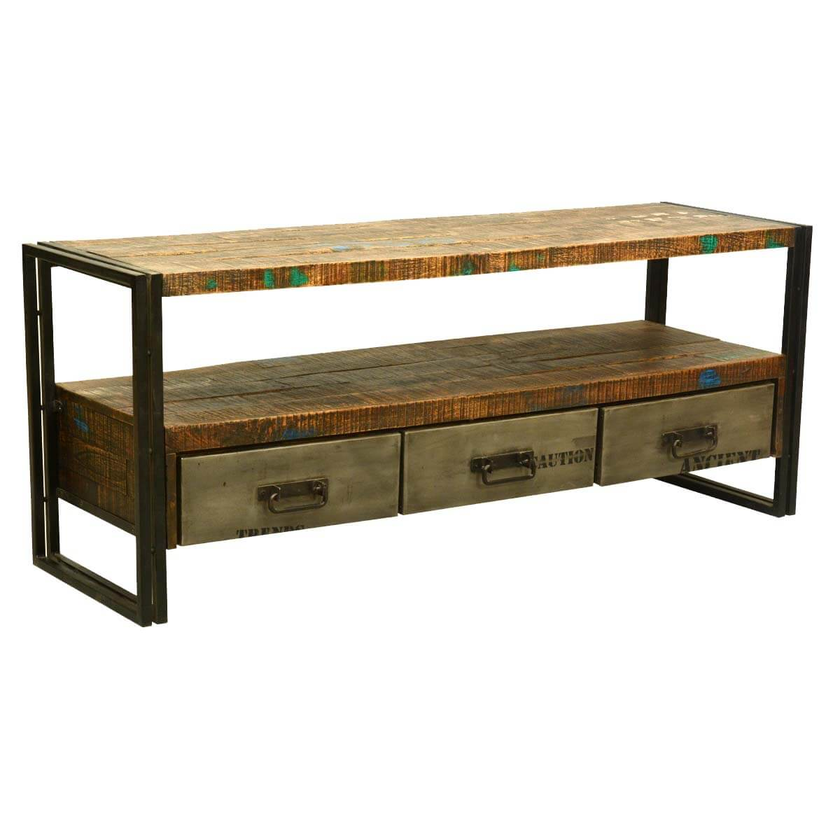 ... Artisan Collection Modern Rustic Reclaimed Wood & Iron Media Console