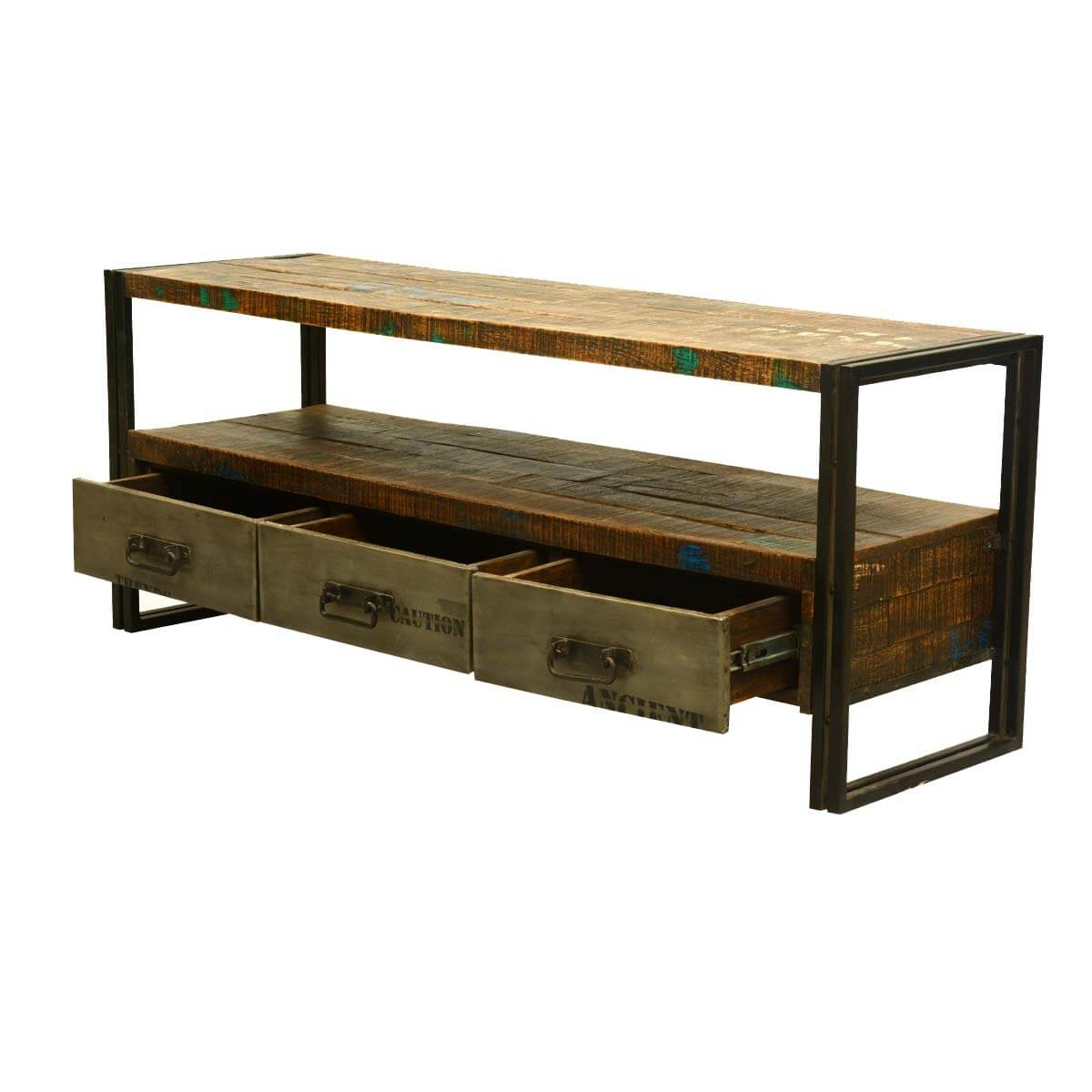 Stylish Rustic Media Console : ... Artisan Collection Modern Rustic Reclaimed Wood & Iron Media Console