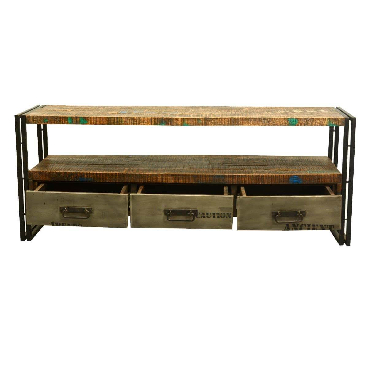 Modern rustic reclaimed wood iron media console Modern media console