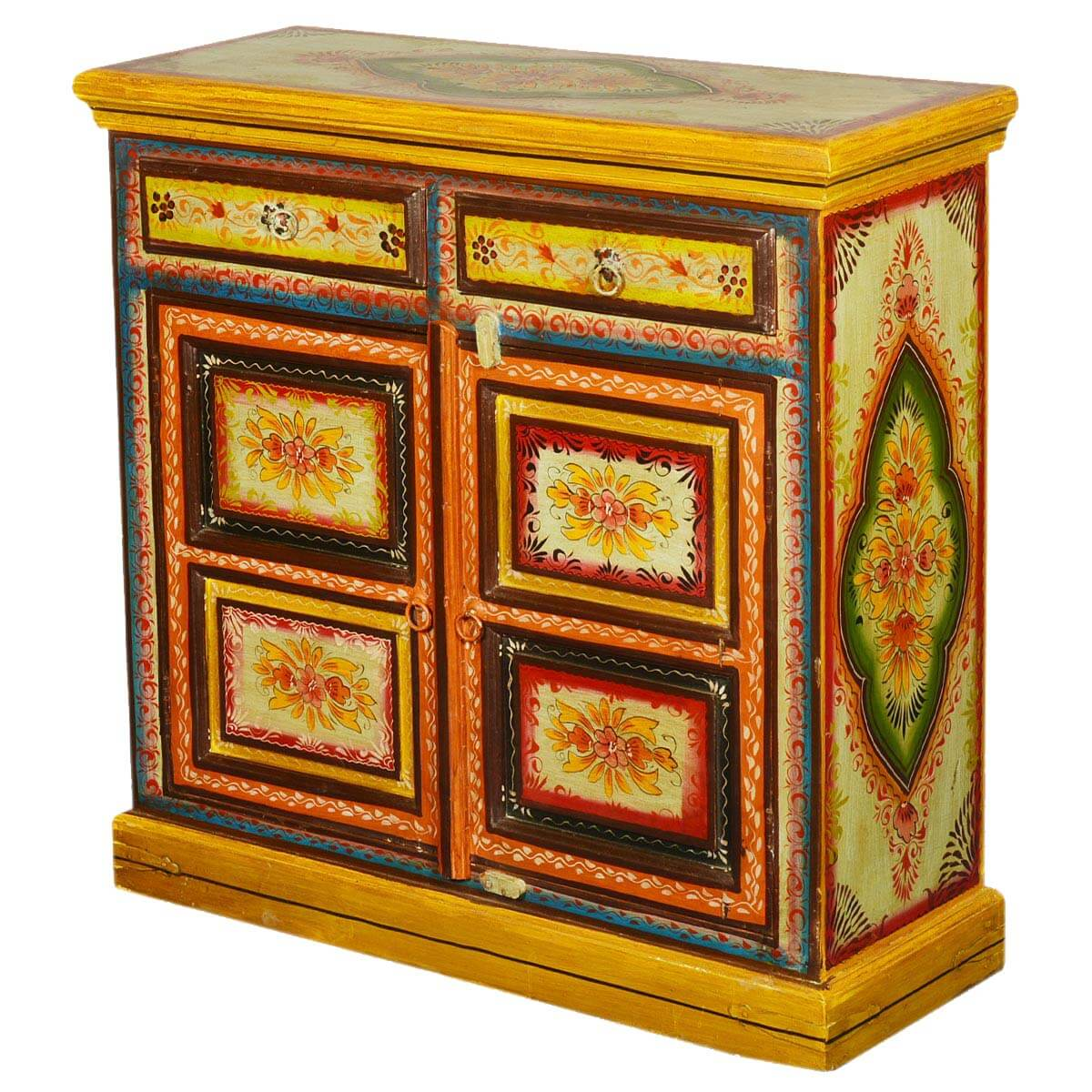 Sun garden blossoms hand painted mango wood drawer