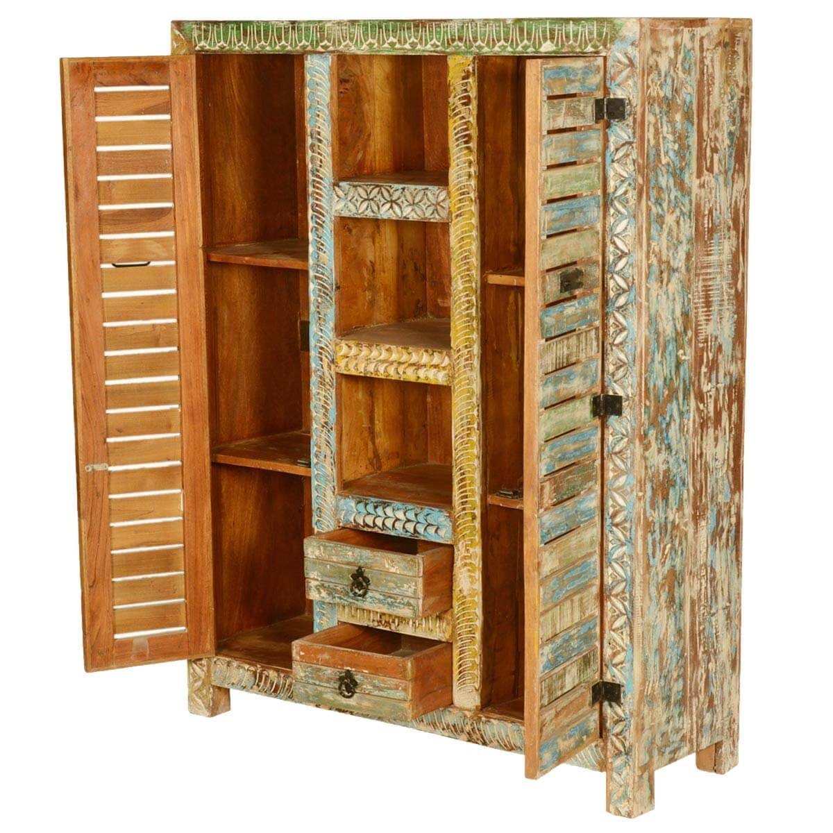 Millville locker doors reclaimed wood hand carved wall for Wood lockers with doors