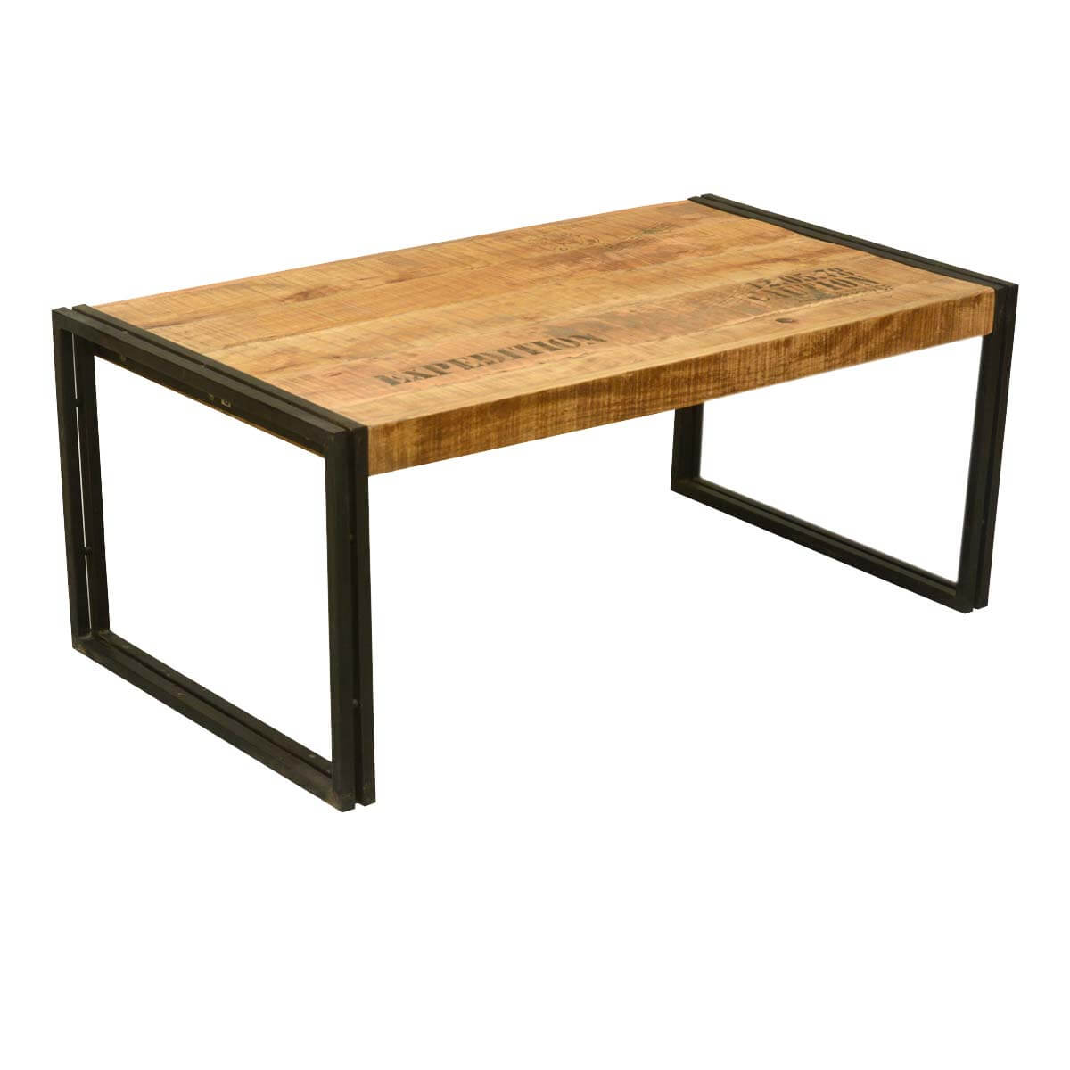 Industrial Double Frame Mango Wood Iron Coffee Table