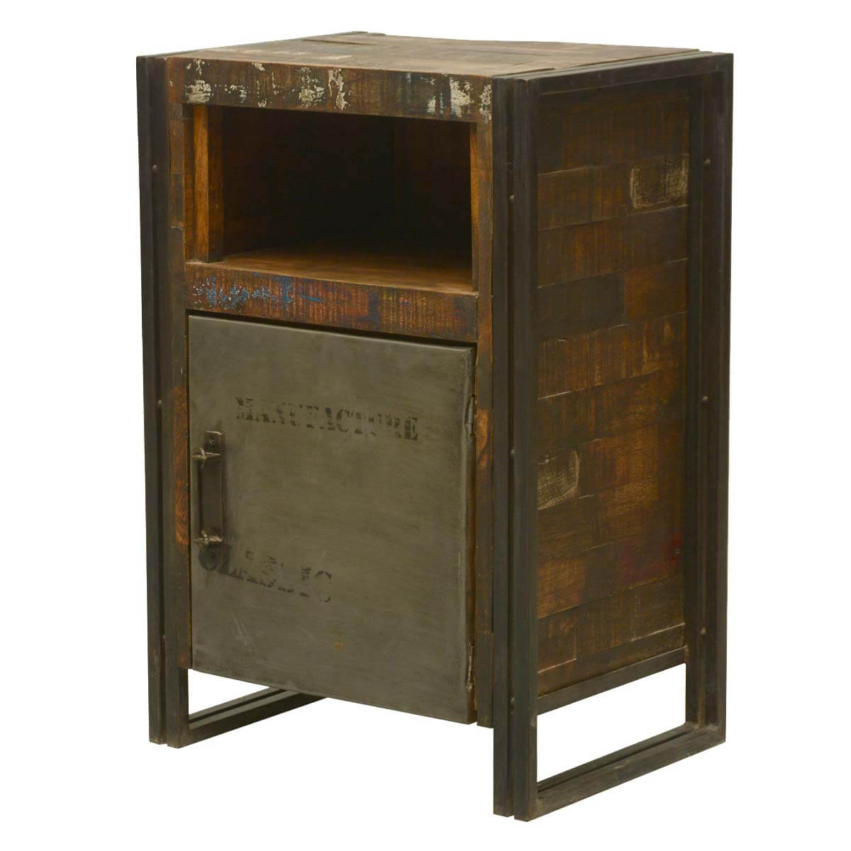 Industrial Fusion Reclaimed Wood amp Iron Nightstand Cabinet  : 5798 from sierralivingconcepts.com size 1200 x 1200 jpeg 94kB