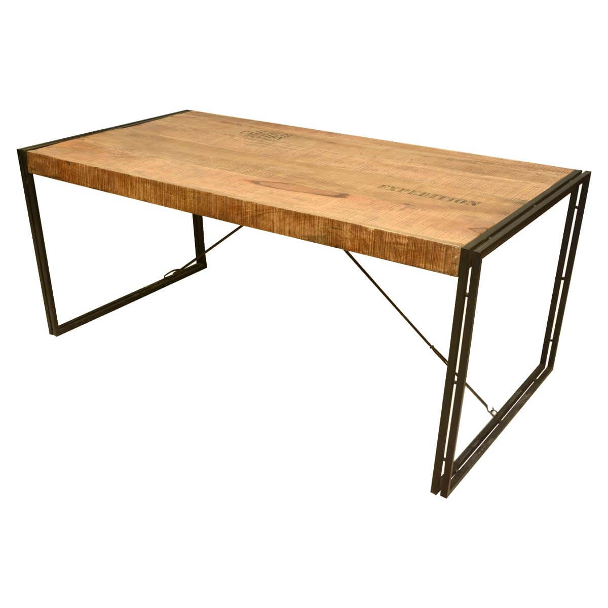 large rustic industrial style mango wood and iron dining table. Black Bedroom Furniture Sets. Home Design Ideas
